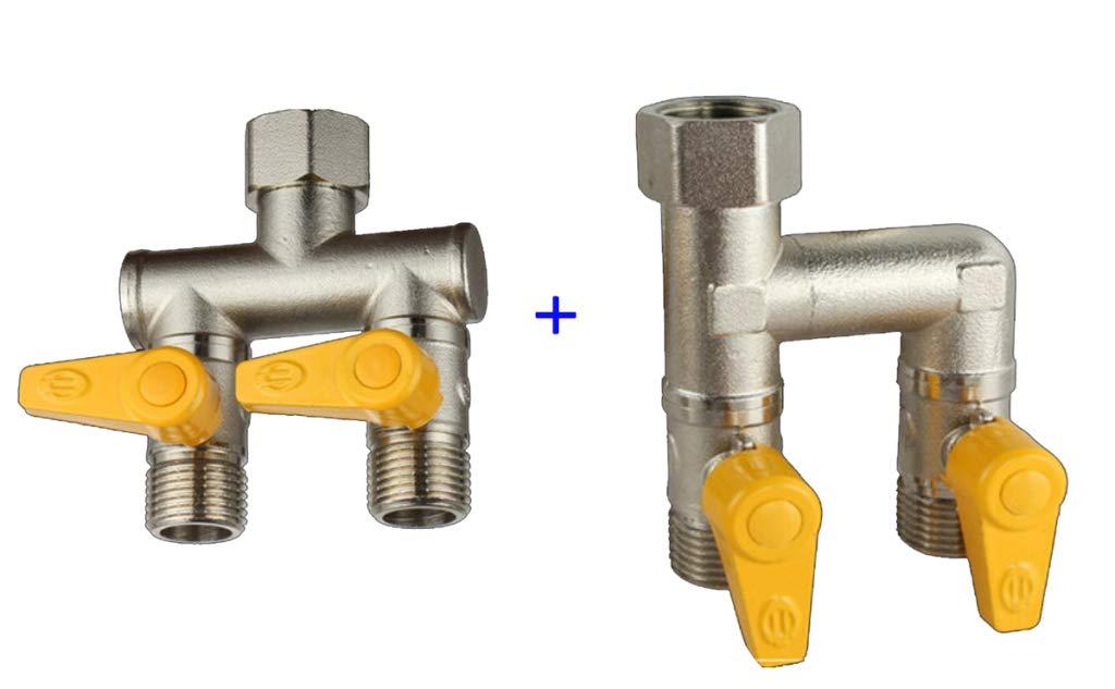 JLDN Garden Hose Splitter, Garden Hose Connector Adapter 2-Way Splitter Solid Brass Plating Easy to Open Valves for Garden and Home Life,Silver by JLDN