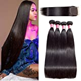 HLSK Straight Virgin Hair 4 Bundles with Closure 100% Unprocessed Brazilian Human Hair Weave with 4x4 Lace Closure Free Part 14 16 18 20+12inch Closure