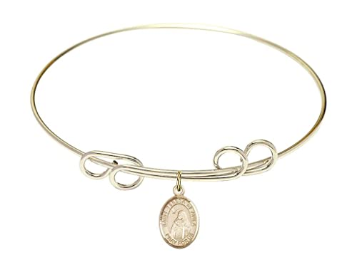 Teresa of Avila charm. 8 inch Round Double Loop Bangle Bracelet with a St