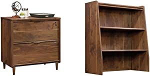 Sauder Clifford Place Lateral File, Grand Walnut Finish & Clifford Place Library Hutch, Grand Walnut Finish