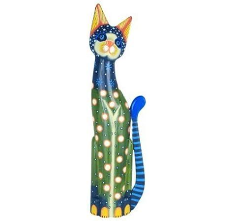 CAPRILO Figura Decorativa de Madera Pintada Gato Multicolor Adornos y Esculturas. Decoración Hogar. Regalos Originales. 60 x 16 x 6 cm.: Amazon.es: Hogar