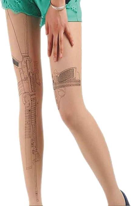 CAOLATOR Medias Rodilla Pantys Mujeres Impresión Medias Tatuaje ...