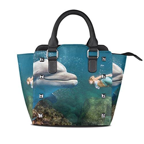Top Shoulder Women's Bags Underwater Blonde Mermaid TIZORAX Meets Handle Dolphin Handbags Leather PU SqZwAHgz
