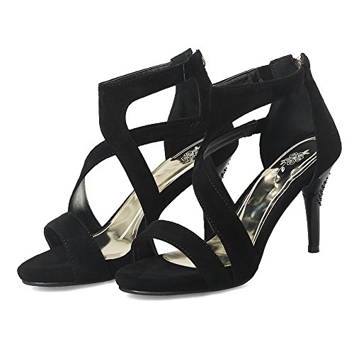 TAOFFEN Froufrou Bout Talon à Sandales Femmes Black Ouvert Croisée Aiguille Chaussures Sangle r1xCqrw