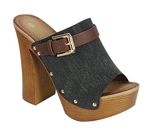 Cambridge Velg Et Dame Titte Toe Piggdekk Lerret Tette Stil Plattform Tykk Hæl Sandal Svart