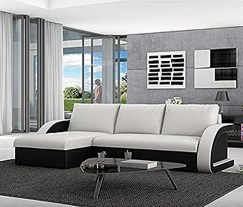 muebles bonitos sof cama kyra con chaise longue universal negro con blanco - Muebles Bonitos