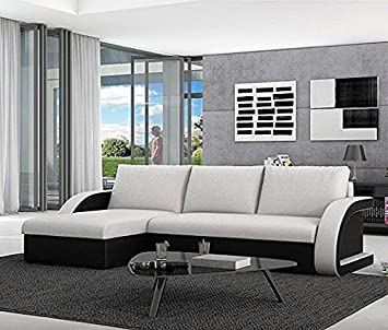 muebles bonitos sof cama kyra con chaise longue universal negro con blanco