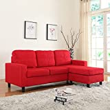 Modern Small Space Reversible Linen Fabric Sectional Sofa In Color Light  Grey, Dark Grey, Beige, Red (Red) Part 71