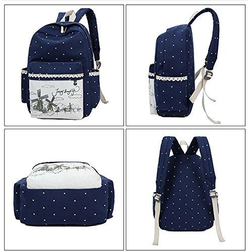 Dos Femme Voyages Minetom Bag Noir Plus Sac Loisir Toile 3 Messenger Pratique Pois Pièces Scolaire À Backpack À Embrayage TPxqwT1p6