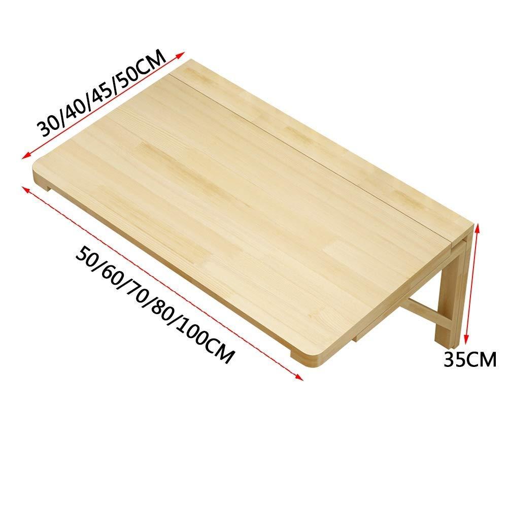 XCJJ Fällbart väggmonterat bord laptop stativ skrivbord utomhus matbord massivt trä, 9 storlekar, 70 x 50 cm 80 x 50 cm