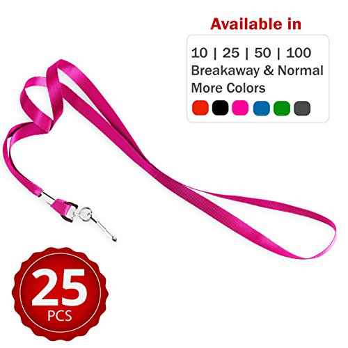 Durably Woven Lanyards ~ Premium Quality, Smoothly Finished for Skin-Friendly Comfort~ for Moms, Teachers, Tours, Events, Businesses, Cruises & More (25 Pack, Pink) by Stationery King -
