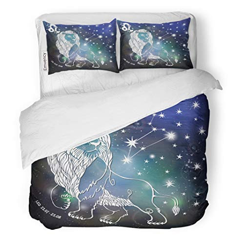 Semtomn Decor Duvet Cover Set Full/Queen Size Leo Zodiac Sign Lion Horoscope Constellation Stars Abstract Space 3 Piece Brushed Microfiber Fabric Print Bedding Set Cover]()