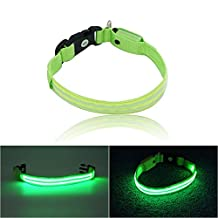 Xcellent Global LED Dog Collar USB Rechargeable Adjustable Double Optical Fiber Flashing Pet Safety Light, Small PT023S