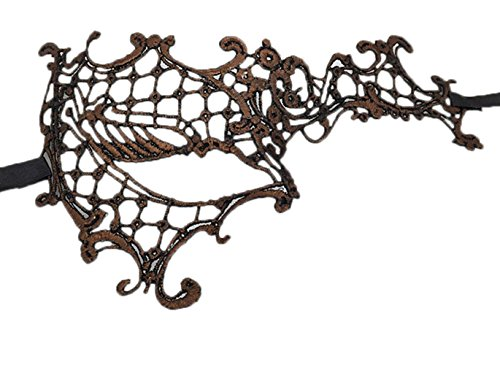 (Flywife Lace Masquerade Ball Mask Venetian Swan Mardi Gras Halloween Costume Party Mask (B Antique Copper Phantom Of The)