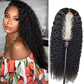 Image of Aliabc Kinky Curly Human Hair Wigs Brazilian 4x4 Lace Front Wigs Curly Lace Closure Wigs for Black Women Natural Color(24 Inch) Health and Household