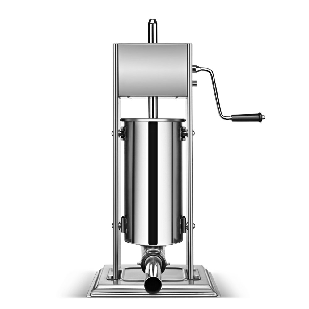 Flexzion Sausage Stuffer Maker Grinder Filler - (5L) 15 Lb Vertical Stainless Steel Two Speed Homemade & Commercial Grade Hand Crank Meat Press Machine Equipment with 4 Stuffing Tube Attachment by Flexzion (Image #3)