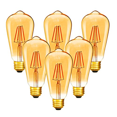 Dimmable 4W Vintage Edison Bulb, ST64(ST21) Antique Filament LED Light Bulbs (Amber Glass), 40W Equivalent, Soft Warm 2200K 280 Lumens, 6 Pack