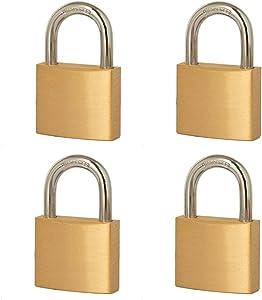 "4 Pack Heavy Duty Brass Locks and Keys,Padlock Keyed Alike with 1-9/16"" (40mm) Wide Lock Body,Outdoor Padlock for Sheds, Storage Unit ,School Gym Locker, Toolbox, Hasp Storage…"