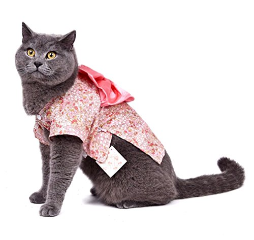 [SMALLLEE_LUCKY_STORE Small Dog Clothes Kimono Costume for Girl Floral Pet Coat Puppy Clothes Cat Halloween Costume, X-Large, Pink] (Kimono Costume For Dogs)