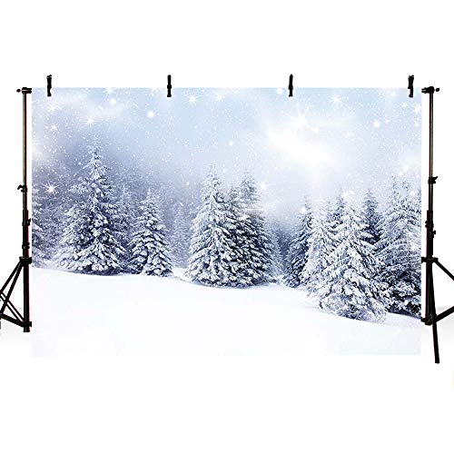 MEHOFOTO Winter Wonderland Backdrop Snow Landscape Scene Forest Pine Tree Photography Background Decoration Photo Studio Props 7x5ft
