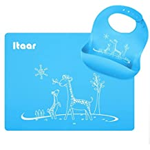 Itaar Waterproof Baby Bibs Easily Wipes Clean! Comfortable Soft Baby Silicone Bib with Food Catcher & Matching Placemat Set - Food Grade Reusable - for Babies Toddlers Kids