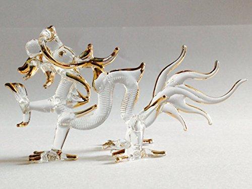 Blown Glass Pen - Figurine Animal Miniature Hand Blown Glass Dragon.