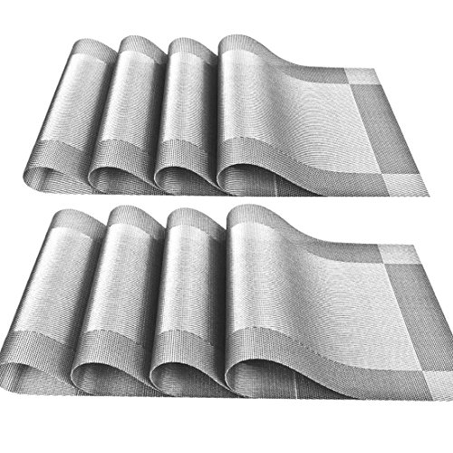 YOY Set of 8 Kitchen PVC Placemats – Fahion Dining Room Table Eat Mats for Kids Rectangle Washable Decor Jacquard Woven Plastic Vinyl Simple Style Place Mats, Silver-gray