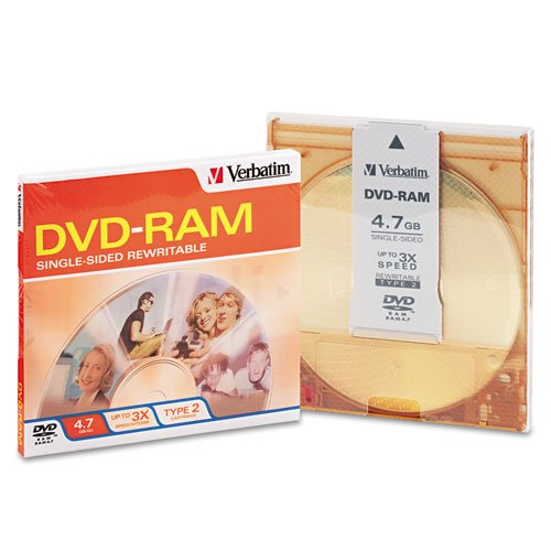 VER95002 - Verbatim DVD-RAM 4.7GB 3X Single Sided, Type 4 with Branded Surface - 1pk with Cartridge by Verbatim