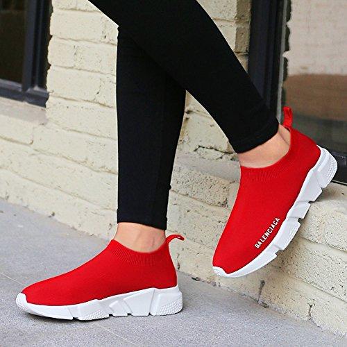 Traspirante elastiche Scarpe Calzini Nero Knit Donna Calze Casual Primavera Leggero Sneakers Uomo Dimensione Rosso 44 Colore Autunno Shoes Lovers qHfwgXS