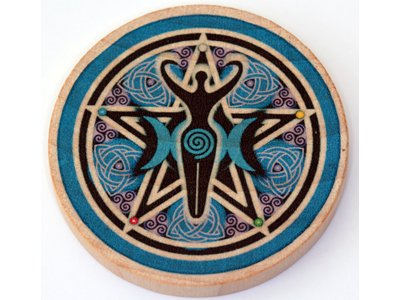 Altar Goddess Triple (Authentic Triple Moon Goddess Wooden Altar Tile - 5cm diameter (2 inches) - Crafted by Pagan Witch with COA)