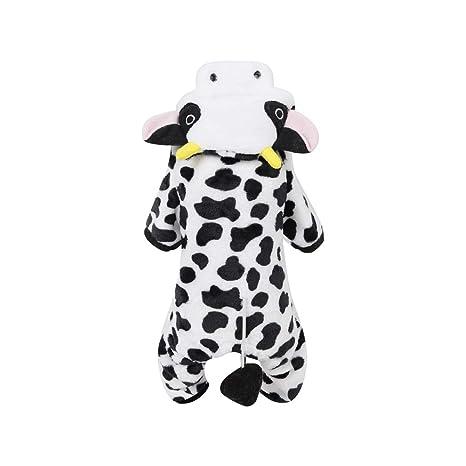 POPETPOP Traje de Mascota Leche Disfraz de Vaca para Perro Gato Ropa Abrigo con Capucha de Invierno para Perros y Gatos - Tamaño XL