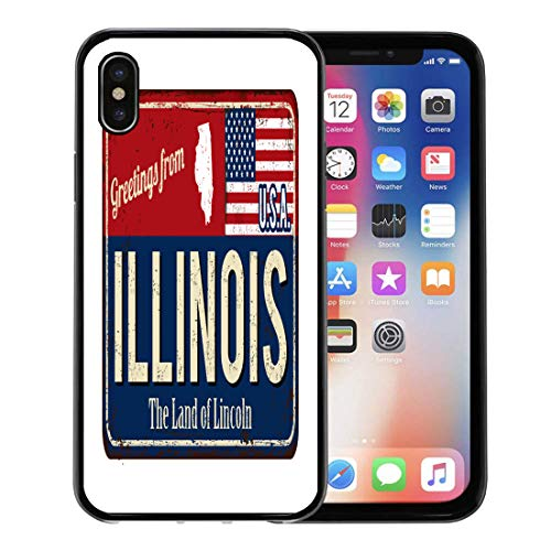 (Semtomn Phone Case for Apple iPhone Xs case,Welcome Greetings from Illinois Vintage Rusty Metal Sign on Aged America for iPhone X Case,Rubber Border Protective Case,Black)