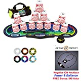 Speed Stacks Custom Combo Set - The Works: 12 WHITE FLAMES 4 Cups, Cup Keeper, Quick Release Stem, Pro Timer, Gen 3 Premium VOXEL GLOW Mat, 6 Snap Tops, Gear Bag + FREE: Active Energy Necklace $49