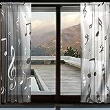 Kitchen Window Treatments Modern WOZO Black White Music Note Window Sheer Curtain Panels 110