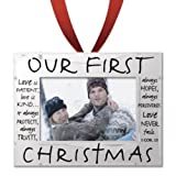 Hanging Silver Frame Christmas Ornament (Our First Christmas)