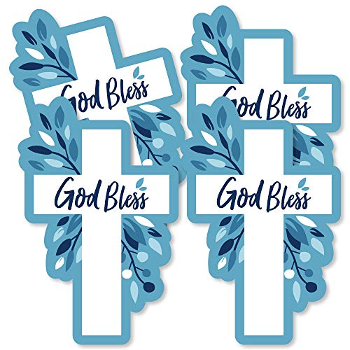 Blue Elegant Cross - Decorations DIY Boy Religious Party Essentials - Set of -
