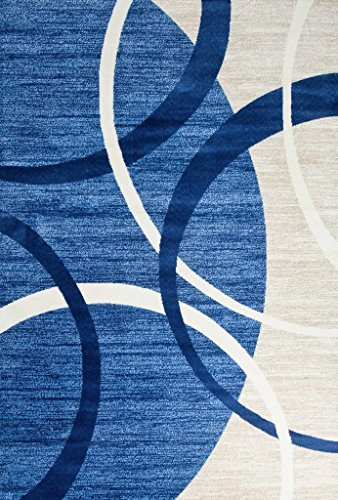 3895 Blue Swirls 5'2 x 7'2 Modern Abstract Area Rug Carpet