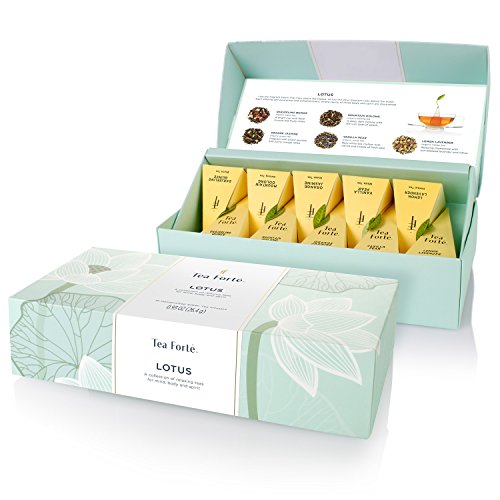 - Tea Forté LOTUS Petite Presentation Box with 10 Handcrafted Pyramid Tea Infusers - Black Tea, Green Tea, Oolong Tea, White Tea, Herbal Tea