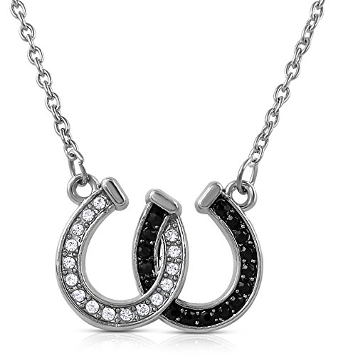 Western Horseshoe Ring - GLAM Lucky Clear and Black Crystals Double Horseshoes Silver Tone Necklace Fashion Jewelry (Black)