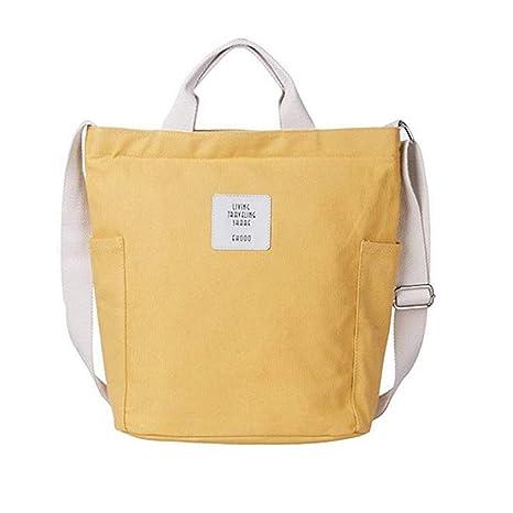 ec8959f41b874 Funtlend Damen Umhängetasche groß Tasche Canvas Handtasche Damen  Schultertasche Shopper für Schule Shopping Arbeit Einkauf-