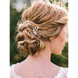 FXmimior Bridal 3 Pics Hair Pins Vintage Gold Flower Daisy Headpiece Hair Accessories for Wedding Women(Gold)