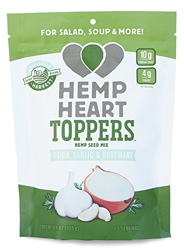 Manitoba Harvest Hemp Heart Toppers, Onion, Garlic & Rosemary, 4.4oz; with 10g protein& Omegas, 4g fiber per Serving, Non-GMO