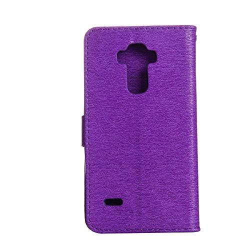Funda LG G Stylo LS770, Carcasa LG G Stylo LS770, Funda de brillo LG G Stylo LS770, Lifetrut Sólido Shiny Sparkle Libro de Estilo de Cuero con Ranura para Tarjetas de Cierre Magnético Soporte Funda de E205-Púrpura