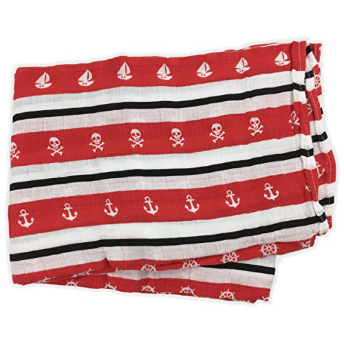 Bambino Land Red & Black Nautical Muslin Swaddle Blanket, Made from Organic Cotton
