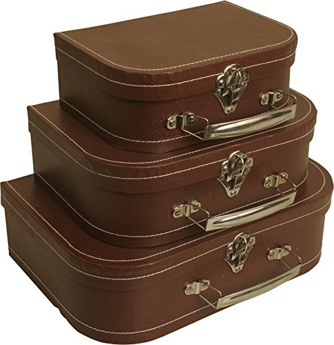 Wald Imports Brown Paperboard  Decorative Storage Paperboard Suitcases, Set of 3 by Wald Imports