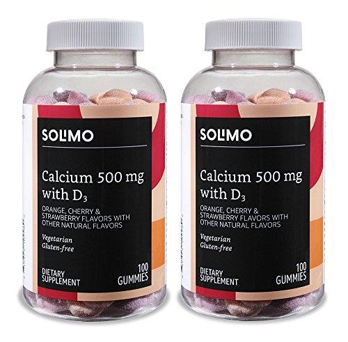 Calcium Gummy - Amazon Brand - Solimo Calcium 500 mg with D3 800 IU per Serving (2 Gummies), 100 Gummies (Pack of 2)