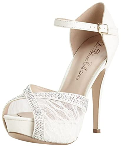 aace3f7a6 Amazon.com | David's Bridal Lace and Rhinestone Platform Sandal Style  DVICE98 | Sandals