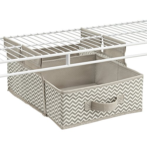 mDesign Chevron Fabric Hanging Closet Storage Organizer, Drawer for Wire Shelving - Taupe/Natural (Linen Closet Shelving Systems)
