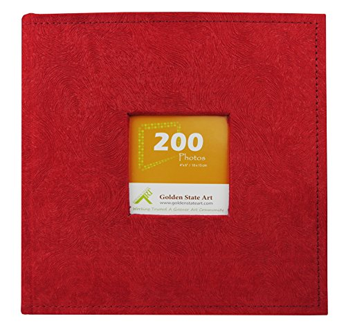 Golden State Art Photo Album Red Suede Cover, Holds 200 4x6 Pictures by Golden State Art
