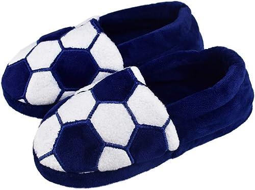 Kids Boys Warm Plush Indoor Slippers with Soft Memory Foam Slip-on Dinosaur Shoes Size 12-13 US Black